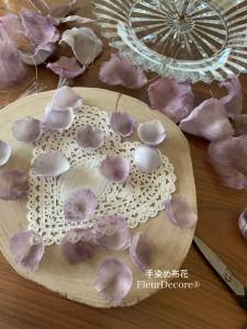 布花のバラ 制作途中の花びら