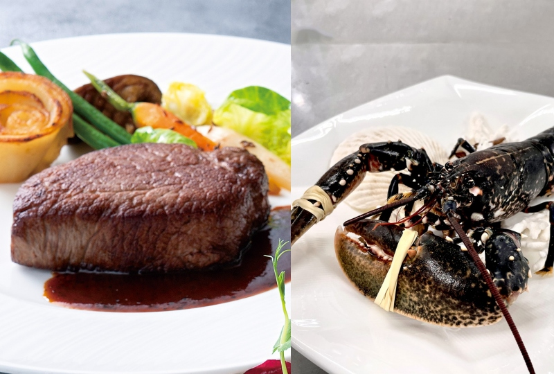 悩みどころは豪華なトリュフソースの黒毛和牛ヒレ肉130gか、贅沢に1尾オマールブルーか。